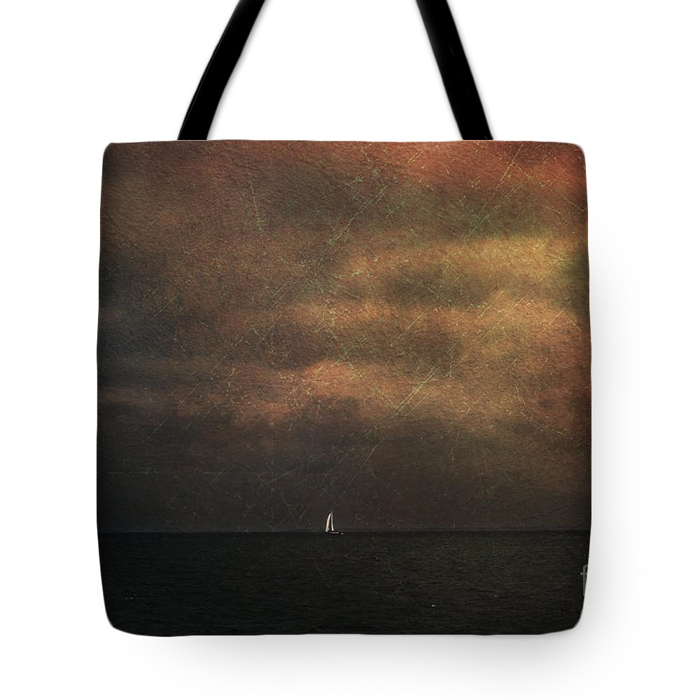Sail Boat Tote Bag featuring the photograph Dark Shore II by Elisabete Companion