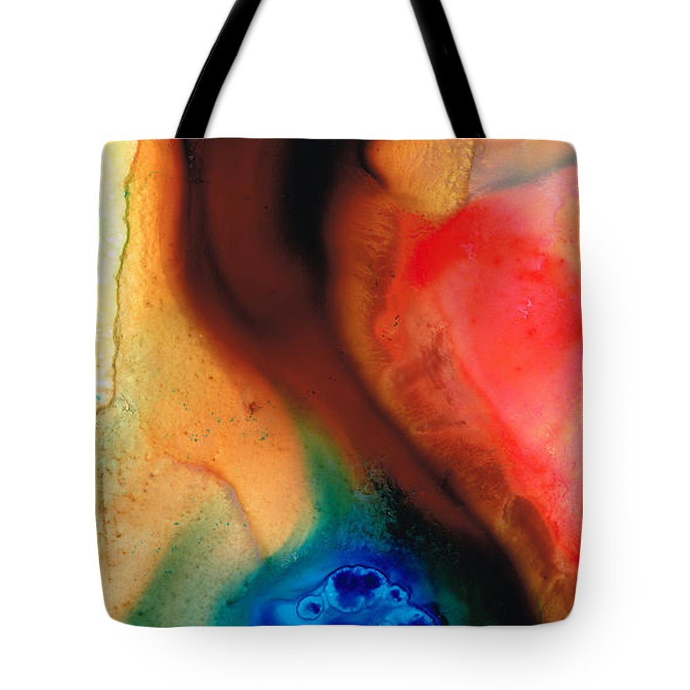 Abstract Tote Bag featuring the painting Dark Swan - Abstract Art By Sharon Cummings by Sharon Cummings