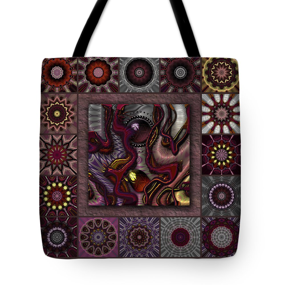 Red Tote Bag featuring the digital art Darkened Country Redux by Ann Stretton