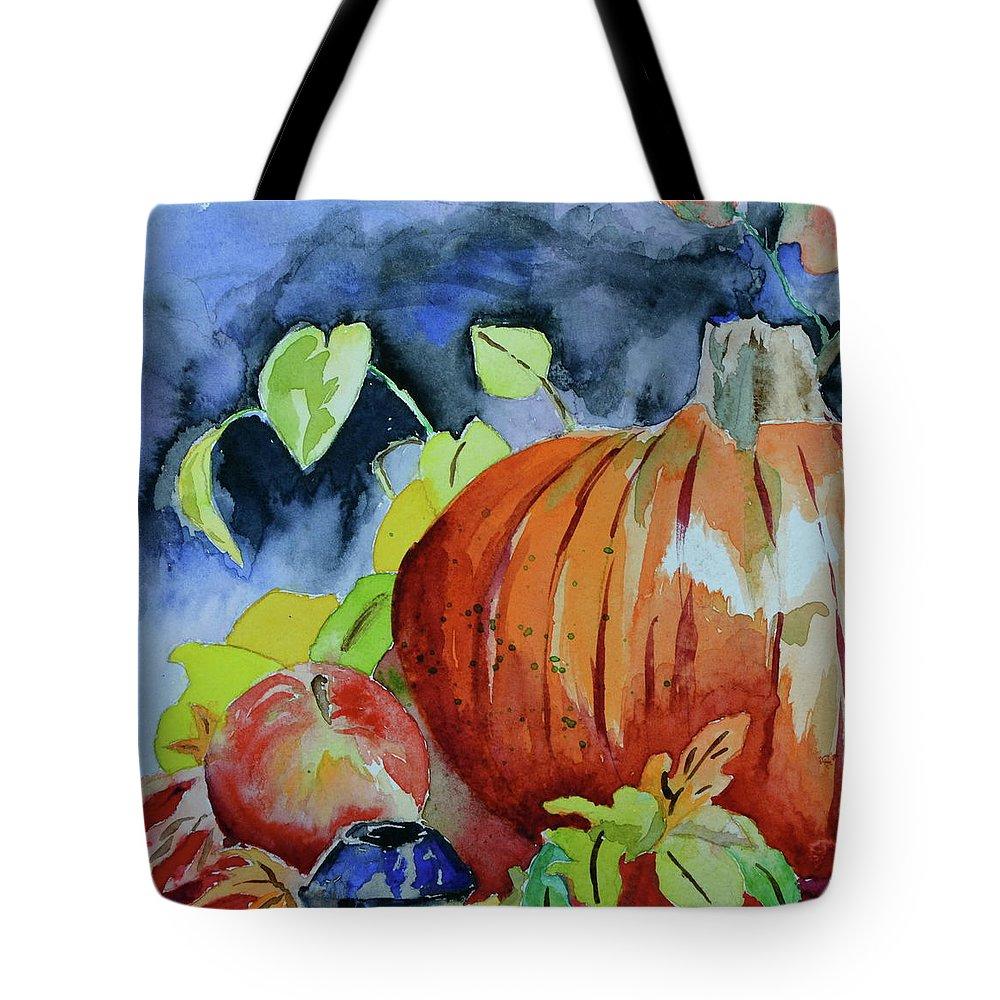 Pumpkin Tote Bag featuring the painting Darkening by Beverley Harper Tinsley