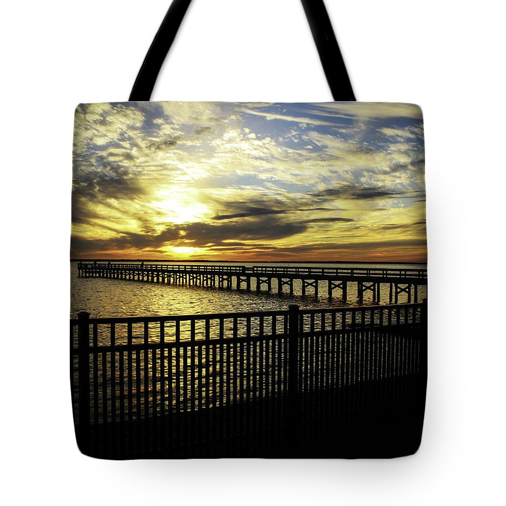 Pier Tote Bag featuring the photograph Darkness And Light by Ola Allen