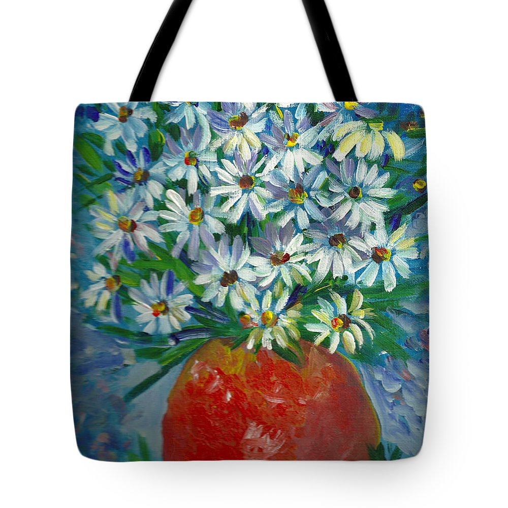 Daisies Tote Bag featuring the painting Darling Daisies by Sarabjit Singh