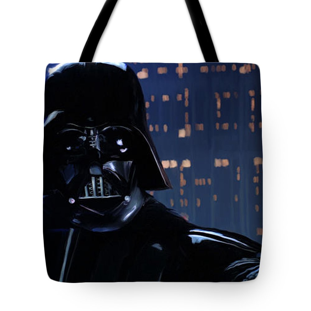 Empire Tote Bag featuring the painting Darth Vader by Paul Tagliamonte