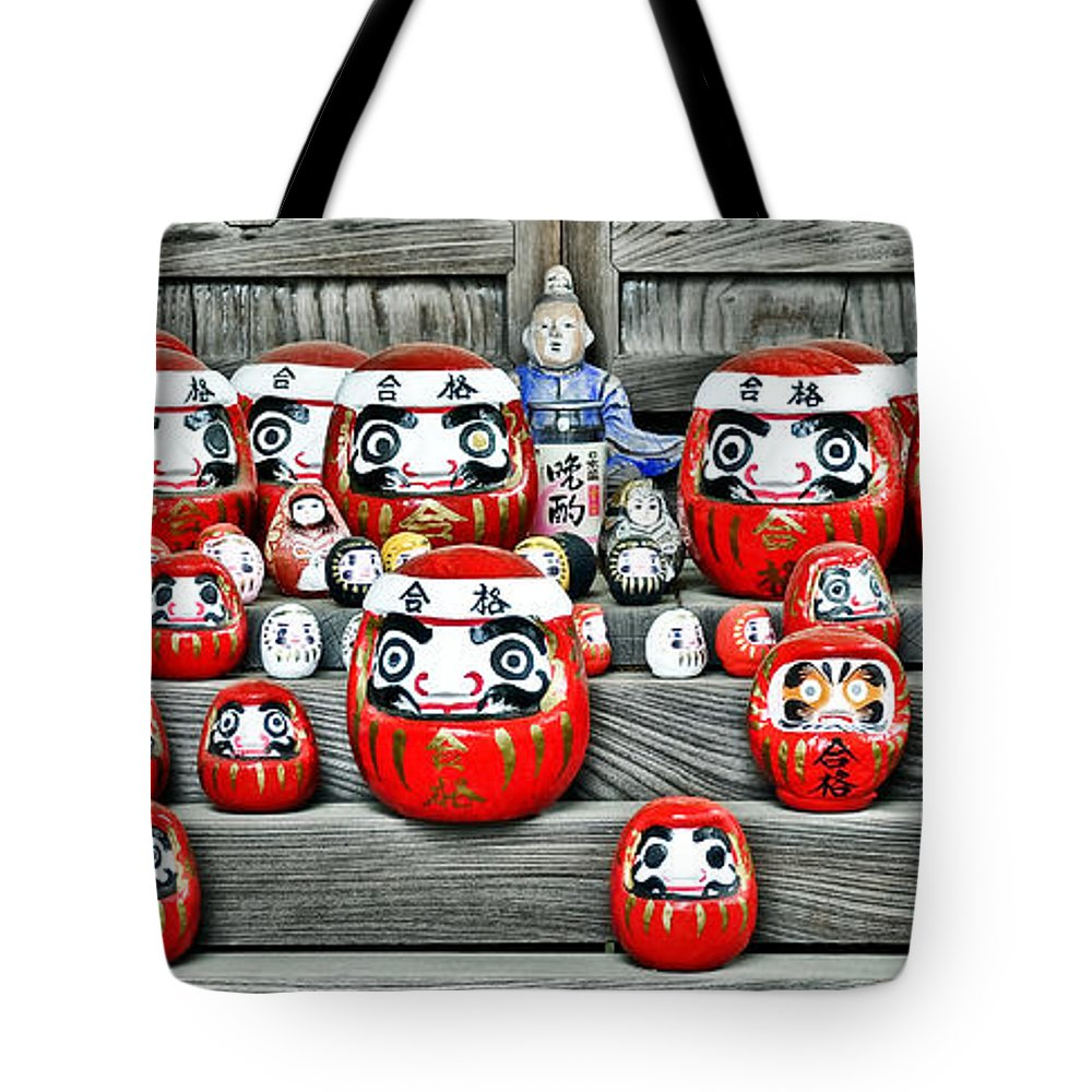 Japanese Tote Bag featuring the photograph Daruma Dolls by Delphimages Photo Creations
