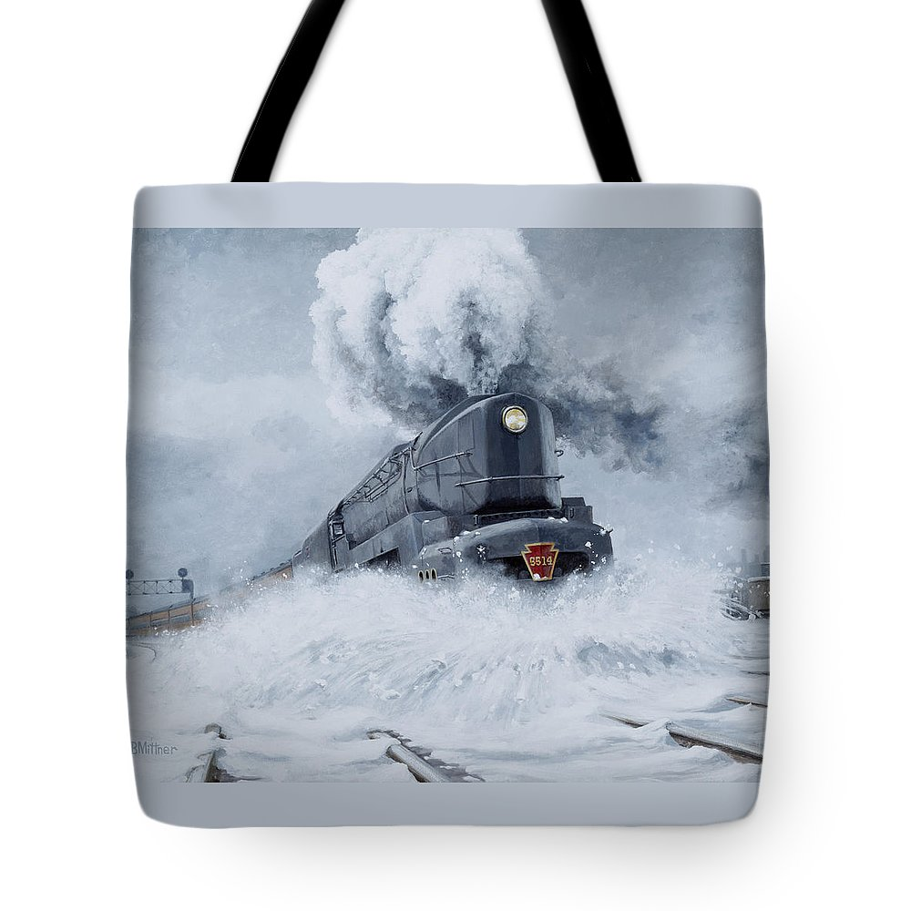 Trains Tote Bag featuring the painting Dashing Through The Snow by David Mittner