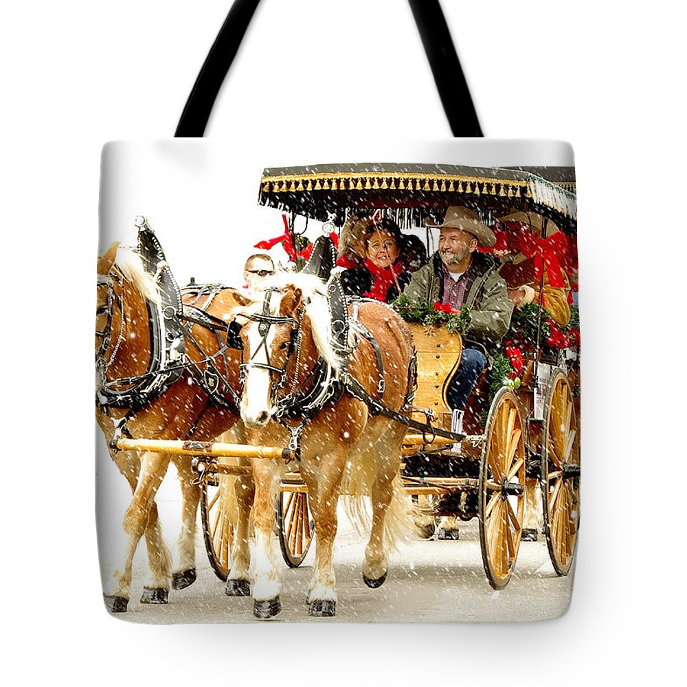 Photography Tote Bag featuring the photograph Dashing Through The Snow by Jenny Gandert