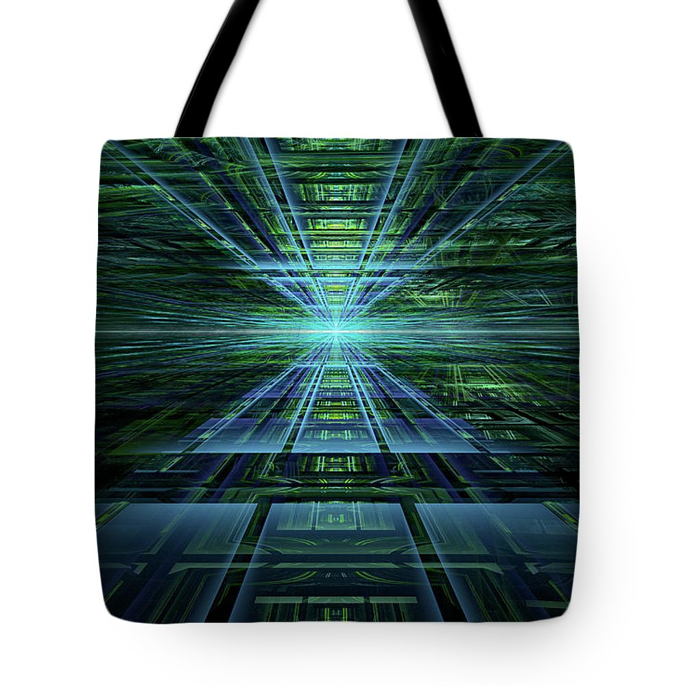 Fractal Tote Bag featuring the digital art Data Pathways by Gary Blackman