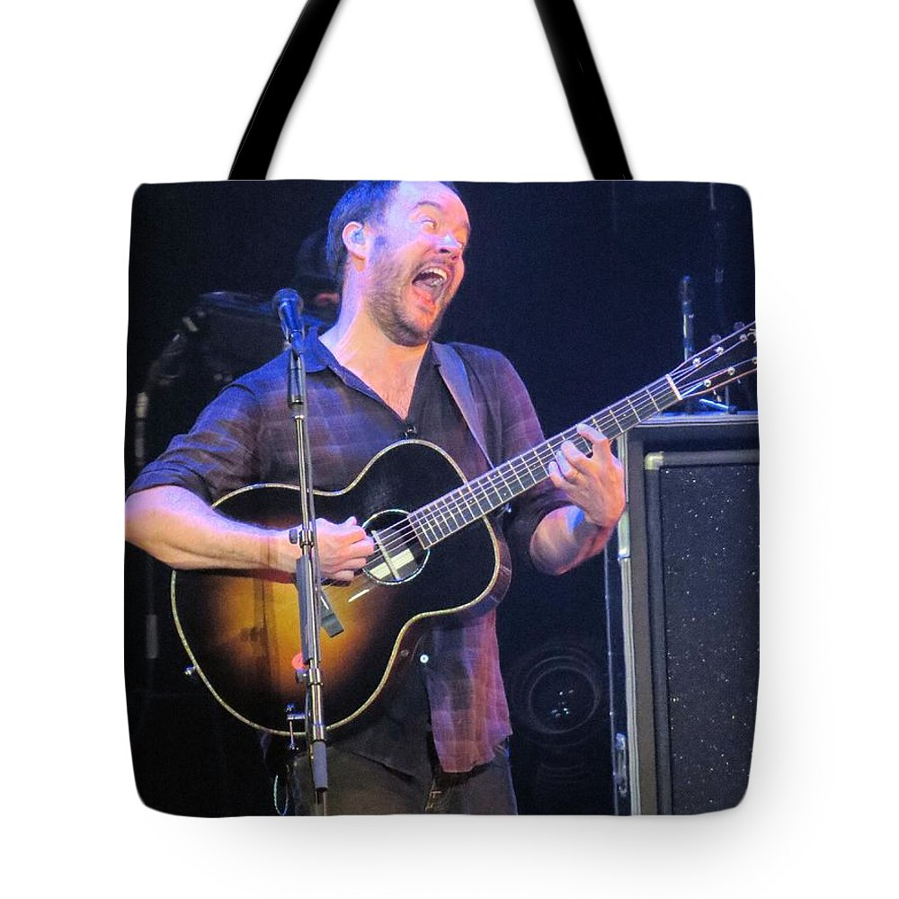 Davematthews Tote Bag featuring the photograph Daves Crazy Face by Aaron Martens