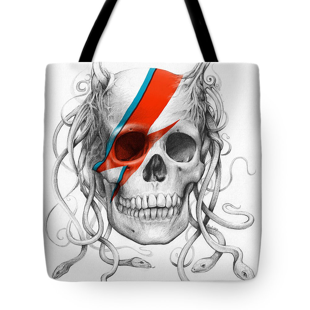 David Bowie Tote Bag featuring the drawing David Bowie Aladdin Sane Medusa Skull by Olga Shvartsur