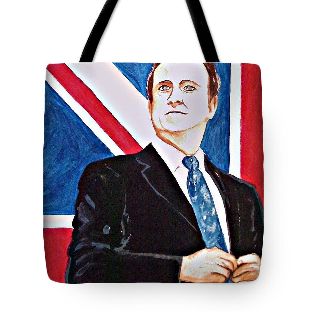 David Cameron Prime Minister Great Brittan U.k. Politics Portrait Man Flag Politician Tote Bag featuring the painting David Cameron 2010 by Ken Higgins