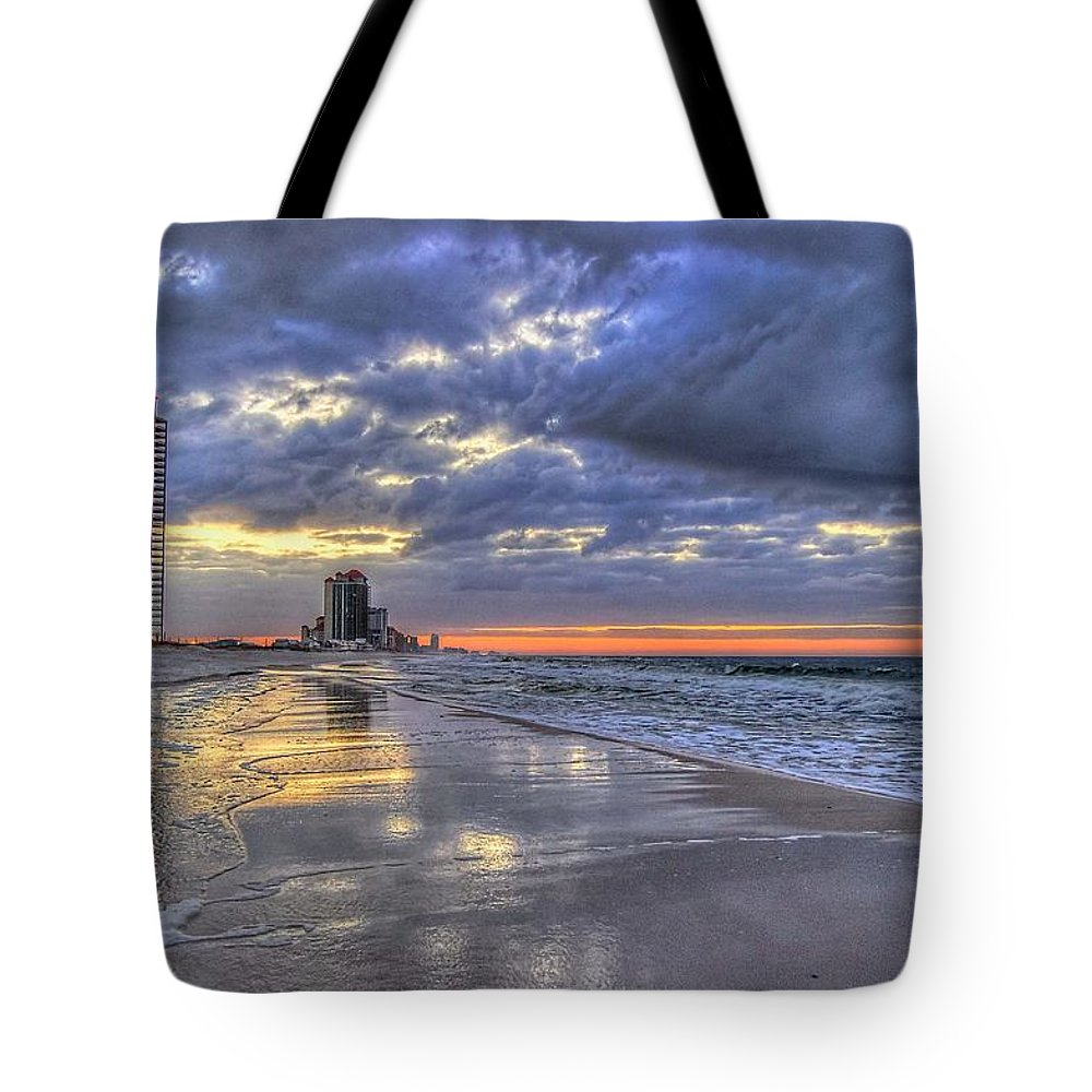Palm Tote Bag featuring the digital art Dawn At The Cottages Of Romar by Michael Thomas