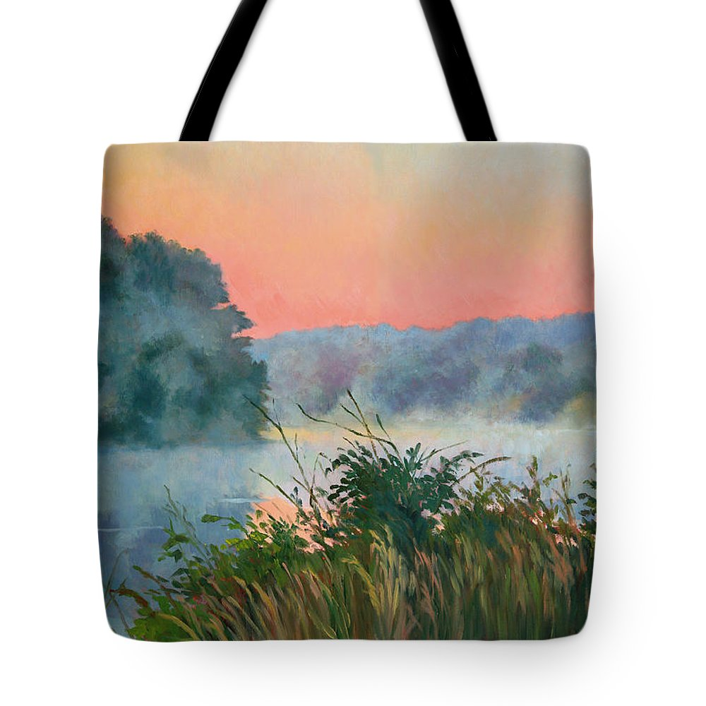 Impressionism Tote Bag featuring the painting Dawn Reflection by Keith Burgess