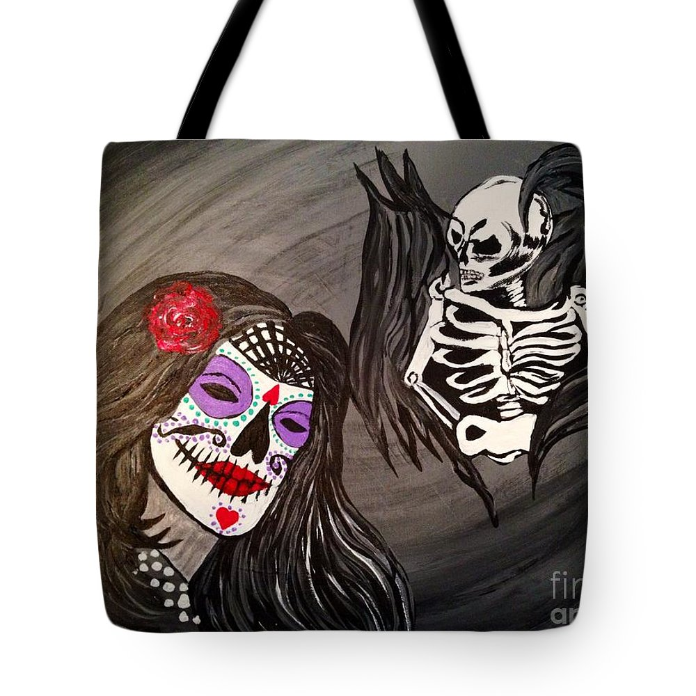 Surreal Tote Bag featuring the painting Day Of The Dead Good Vs Evil by Melissa Darnell Glowacki
