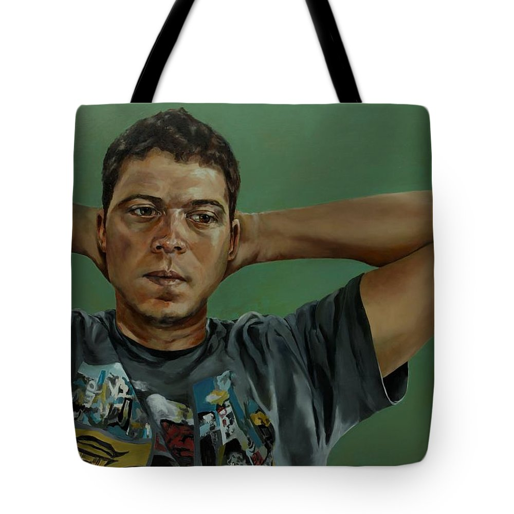 Young Man Portrait Tote Bag featuring the painting Day Portrait Of A Young Man by Jolante Hesse