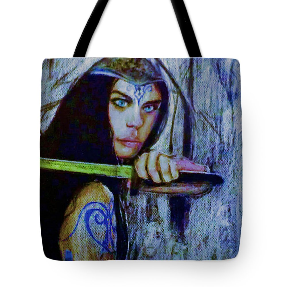 Fantasy Tote Bag featuring the painting Dayanna To Battle by Stefan Duncan