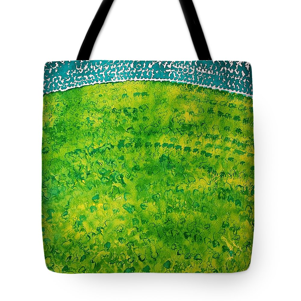 Dawn Tote Bag featuring the painting Daybreak Original Painting by Sol Luckman