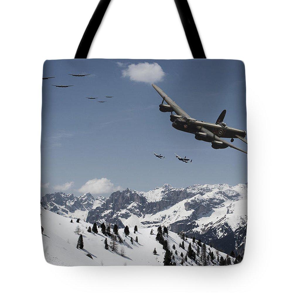 Lancaster Bomber Tote Bag featuring the digital art Daylight Raid by J Biggadike