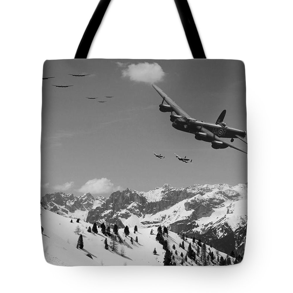 Lancaster Bomber Tote Bag featuring the digital art Daylight Raid Mono by J Biggadike