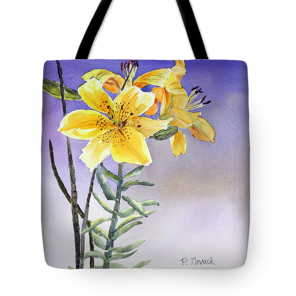 Lily Tote Bag featuring the painting Daylilies by Patricia Novack