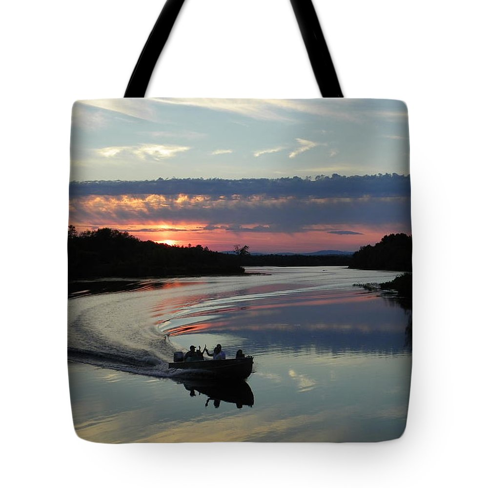 Boat Tote Bag featuring the photograph Day's End On The Sebec River by Georgia Hamlin