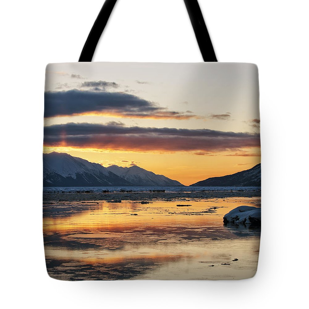 Turnagain Arm Tote Bag featuring the photograph Days End by Ted Raynor