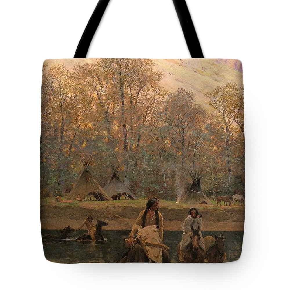 Days Of Long Ago Tote Bag featuring the digital art Days Of Long Ago by Henry Farny