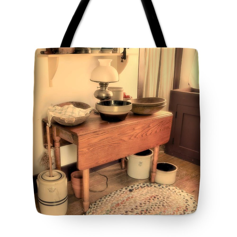 Kitchen Tote Bag featuring the photograph Days Of Old by Kathleen Struckle