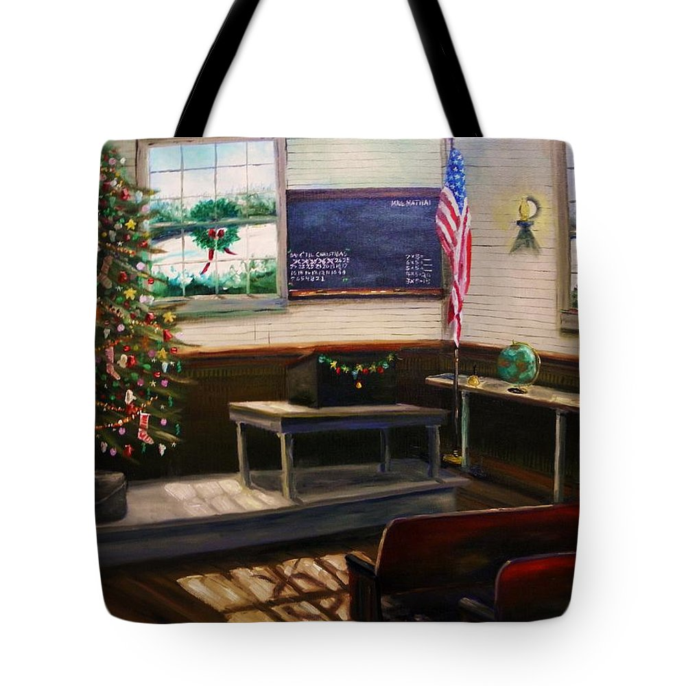 Oil Tote Bag featuring the painting Days Til Christmas by John Williams