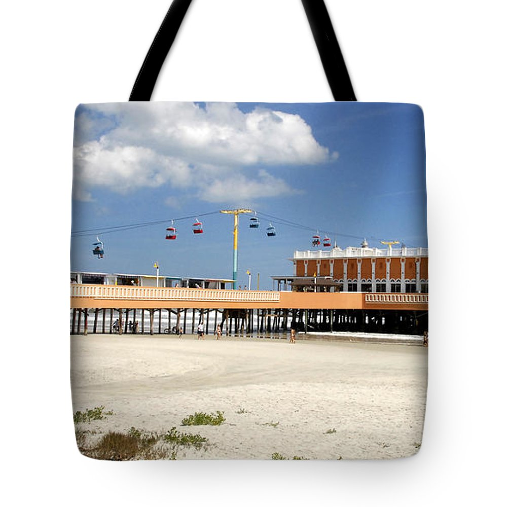 Panoramic Photography Tote Bag featuring the photograph Daytona Beach Pier Pano by David Lee Thompson