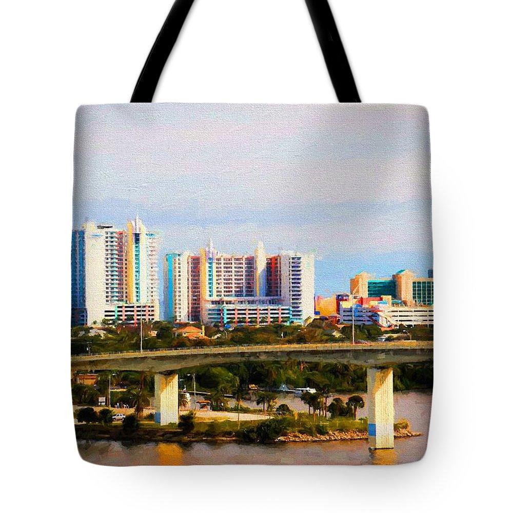 Daytona Beach Tote Bag featuring the photograph Daytona Bridge by Alice Gipson