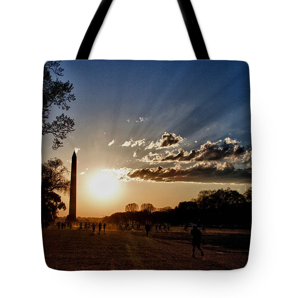 Washington Tote Bag featuring the photograph Dc Monument Sunset by Dawn Morrow