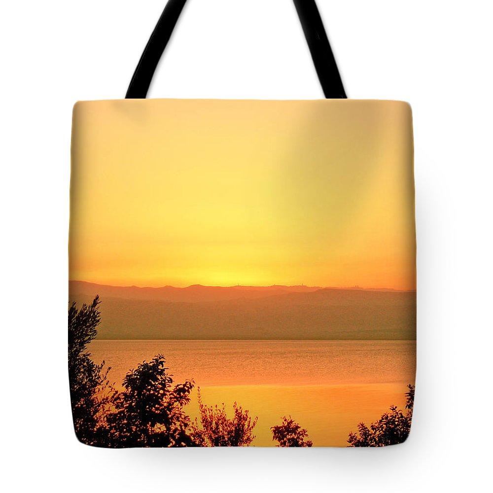Dead Sea Tote Bag featuring the photograph Dead Sea Sunset by Conor O'Brien
