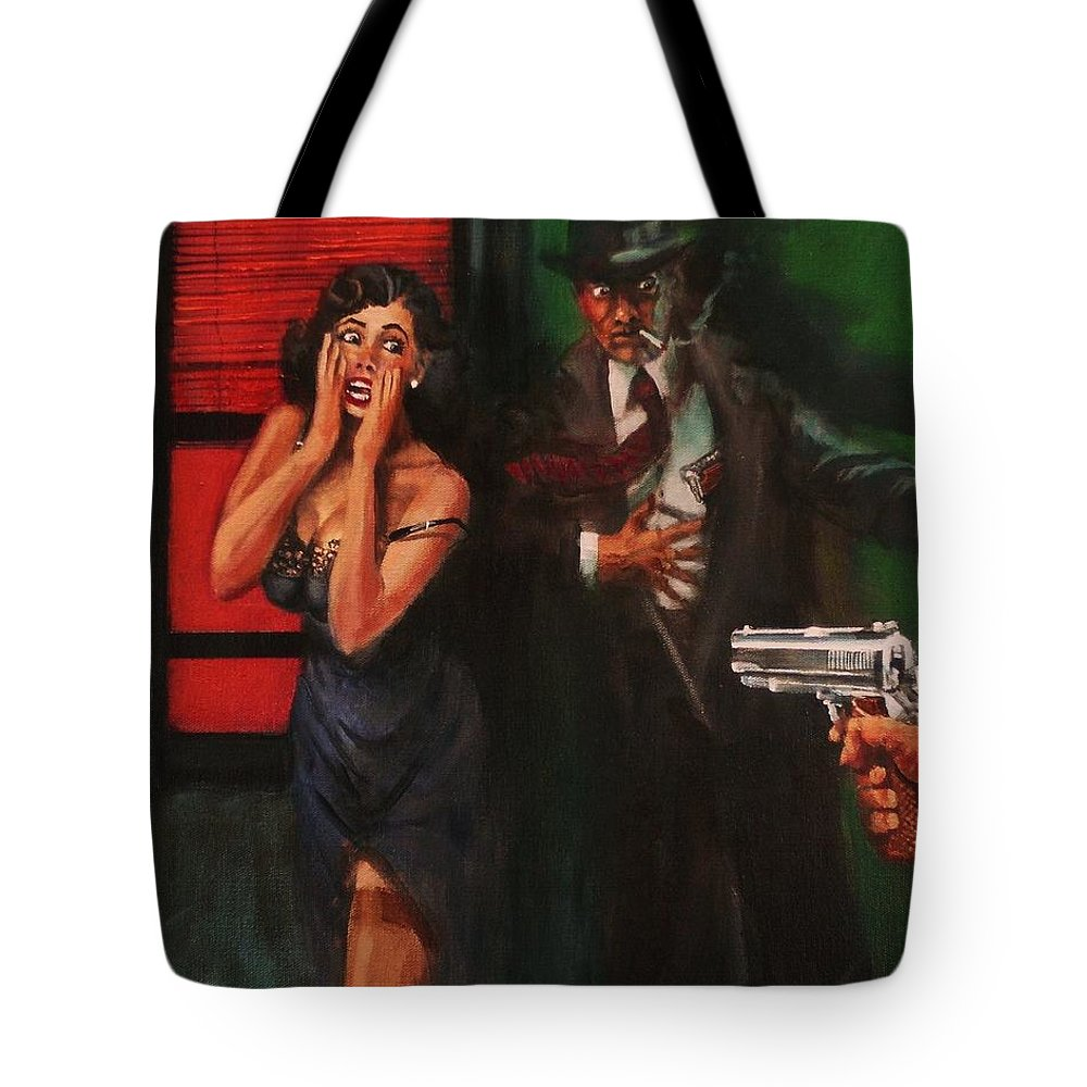 Art Noir Tote Bag featuring the painting Deadly Surprise by Tom Shropshire