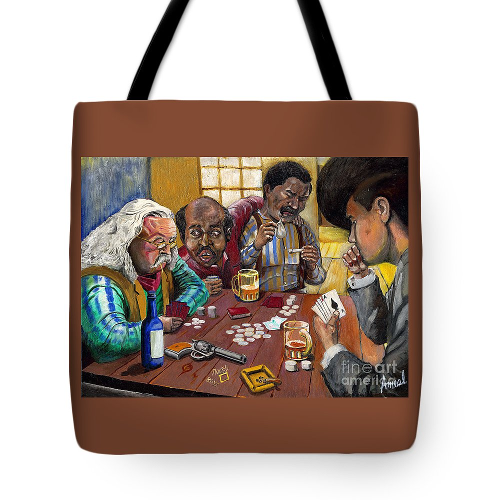 Card Game Tote Bag featuring the painting Dead Man's Hand by George Ameal Wilson