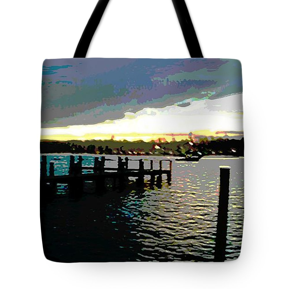 Chesapeake Tote Bag featuring the painting Deale Maryland Harbour Seascape by G Linsenmayer