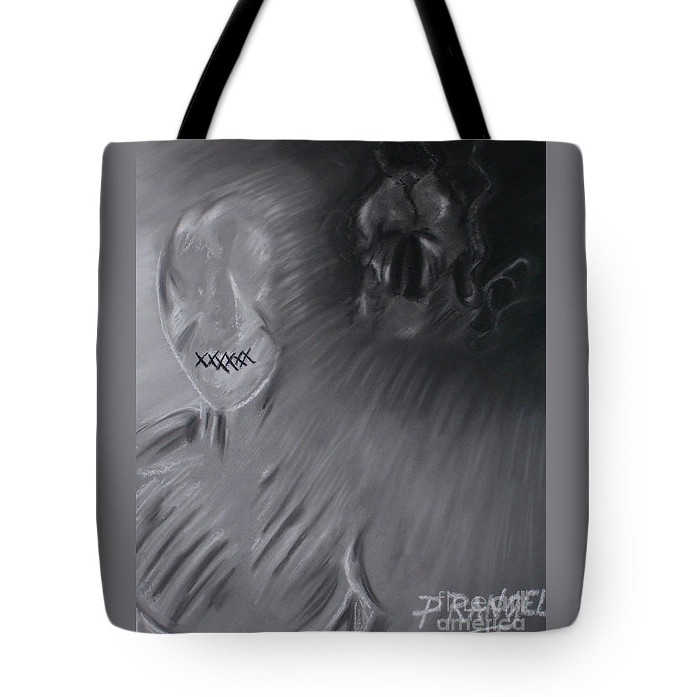 Symbolism Tote Bag featuring the pastel Death A Coward by Phillip Rangel