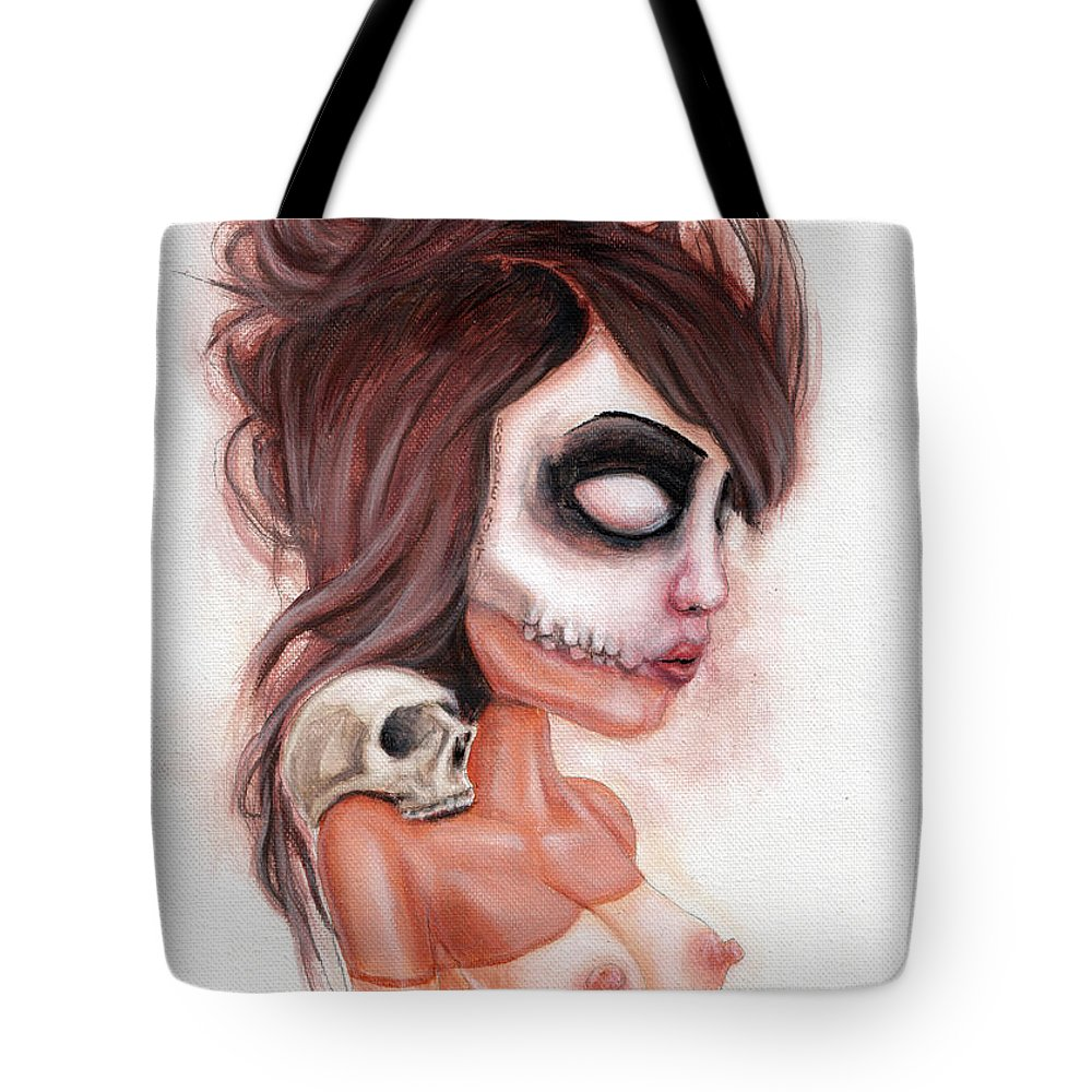 Pop Surrealism Tote Bag featuring the painting Deathlike Skull Impression by Rouble Rust