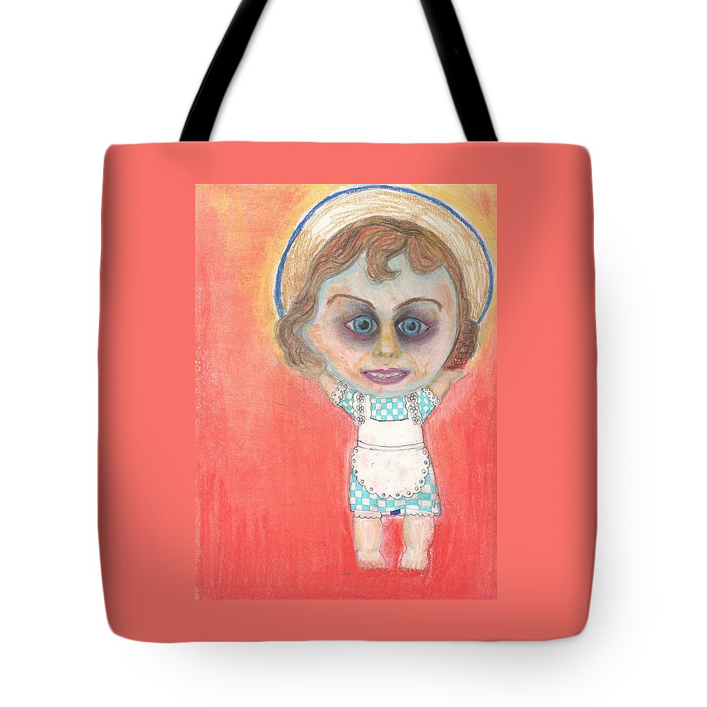 Evil Tote Bag featuring the drawing Debbie by Regina Jeffers