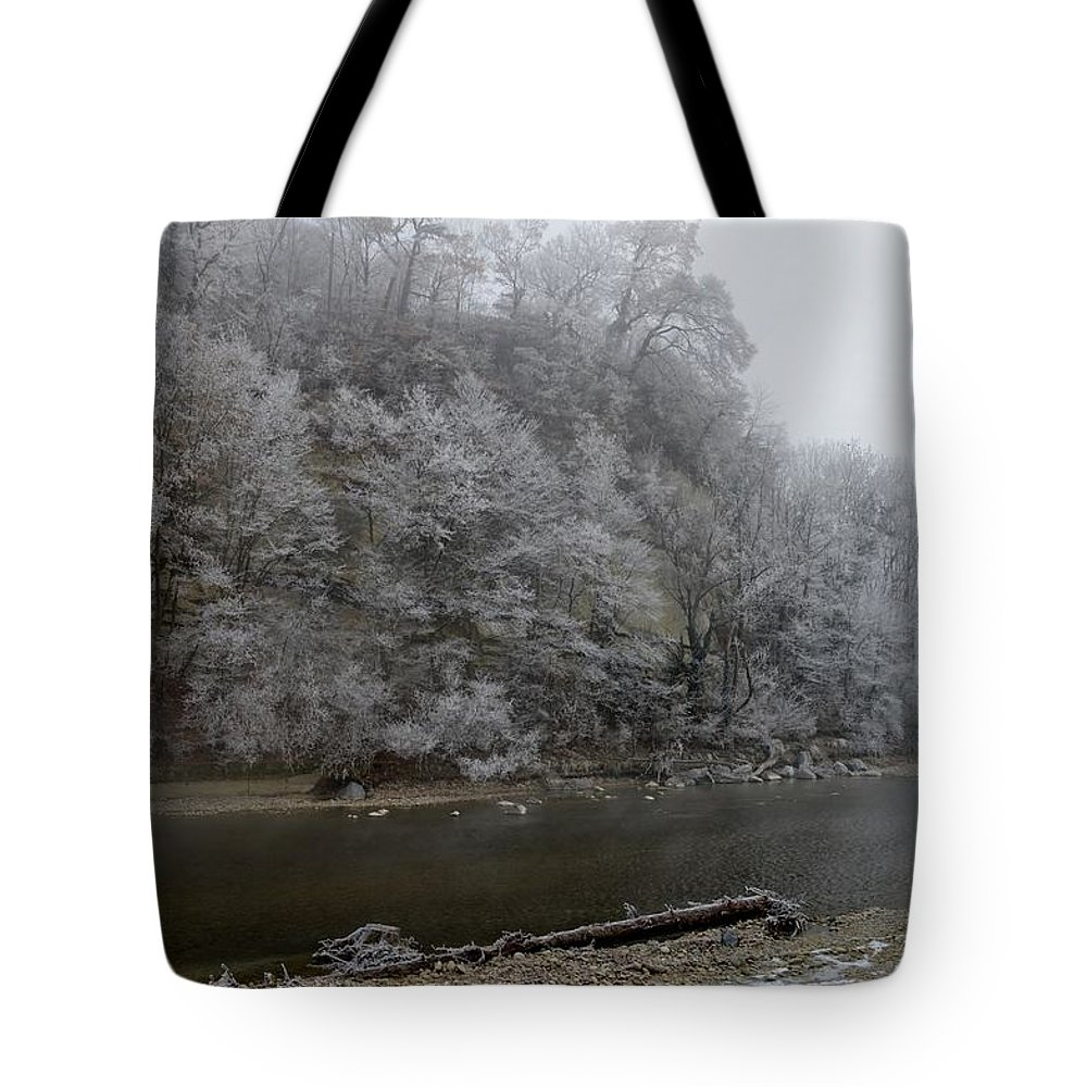 Landscape Tote Bag featuring the photograph December Morning On The River by Felicia Tica