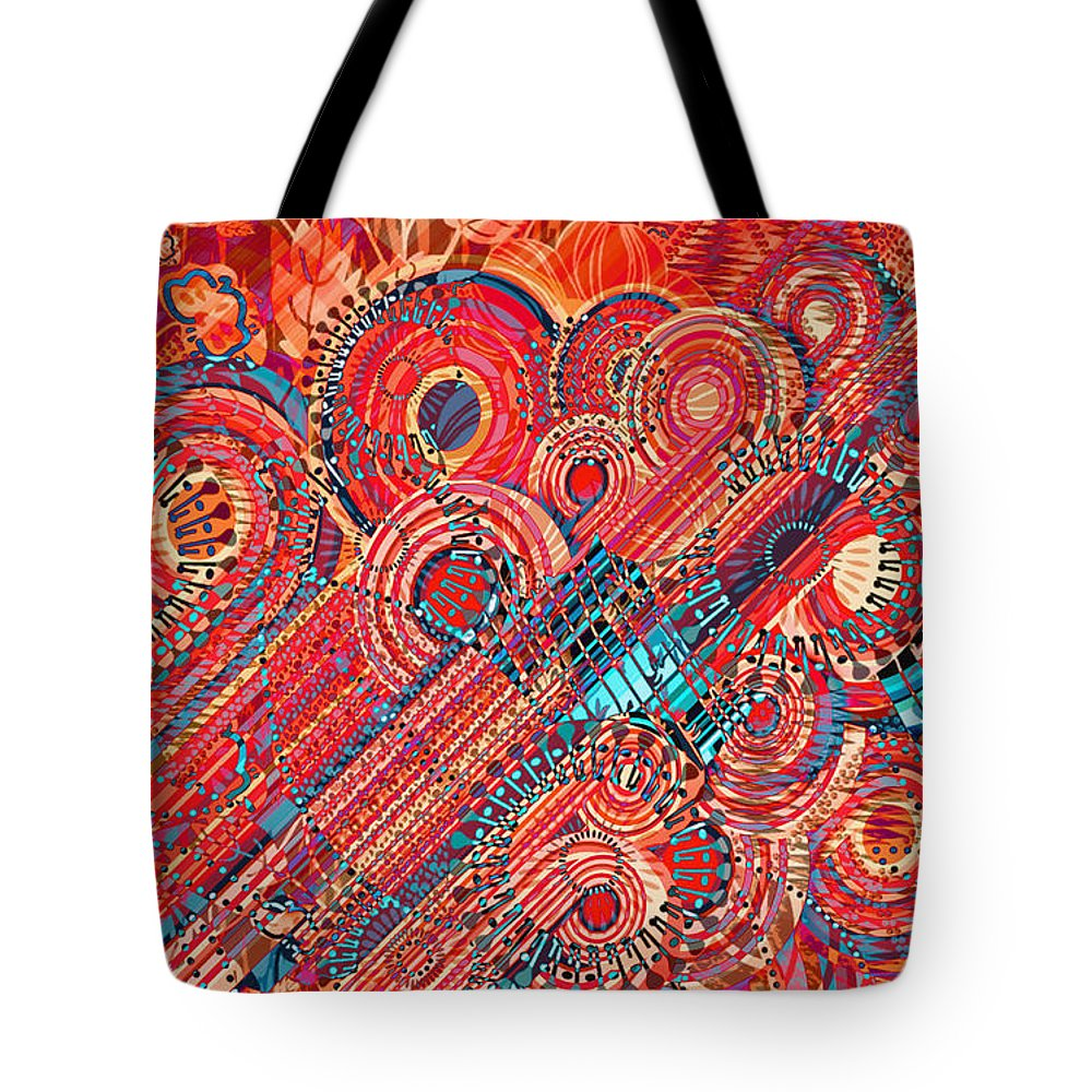 Abstract Art Tote Bag featuring the digital art Deco Flower Swirls by Mary Clanahan