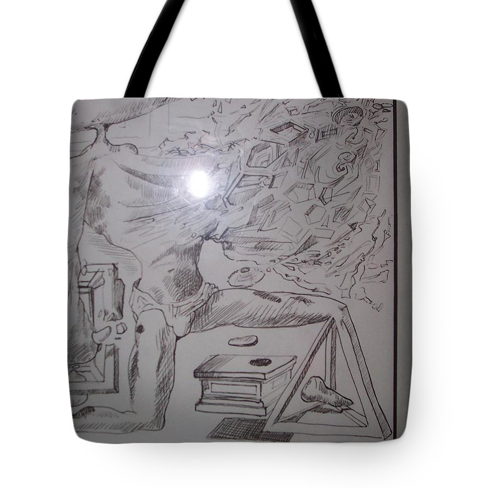 Tote Bag featuring the painting Decomposition Of Kneeling Man by Jude Darrien