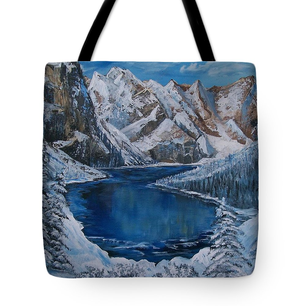 Mountains Tote Bag featuring the painting Deep Dark And Cold by Sharon Duguay