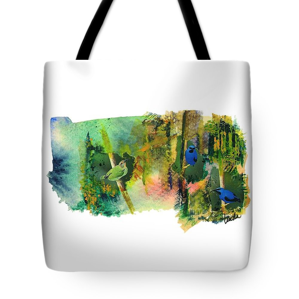 Abstract Tote Bag featuring the painting Deep Forest Song by Linda Wimberly