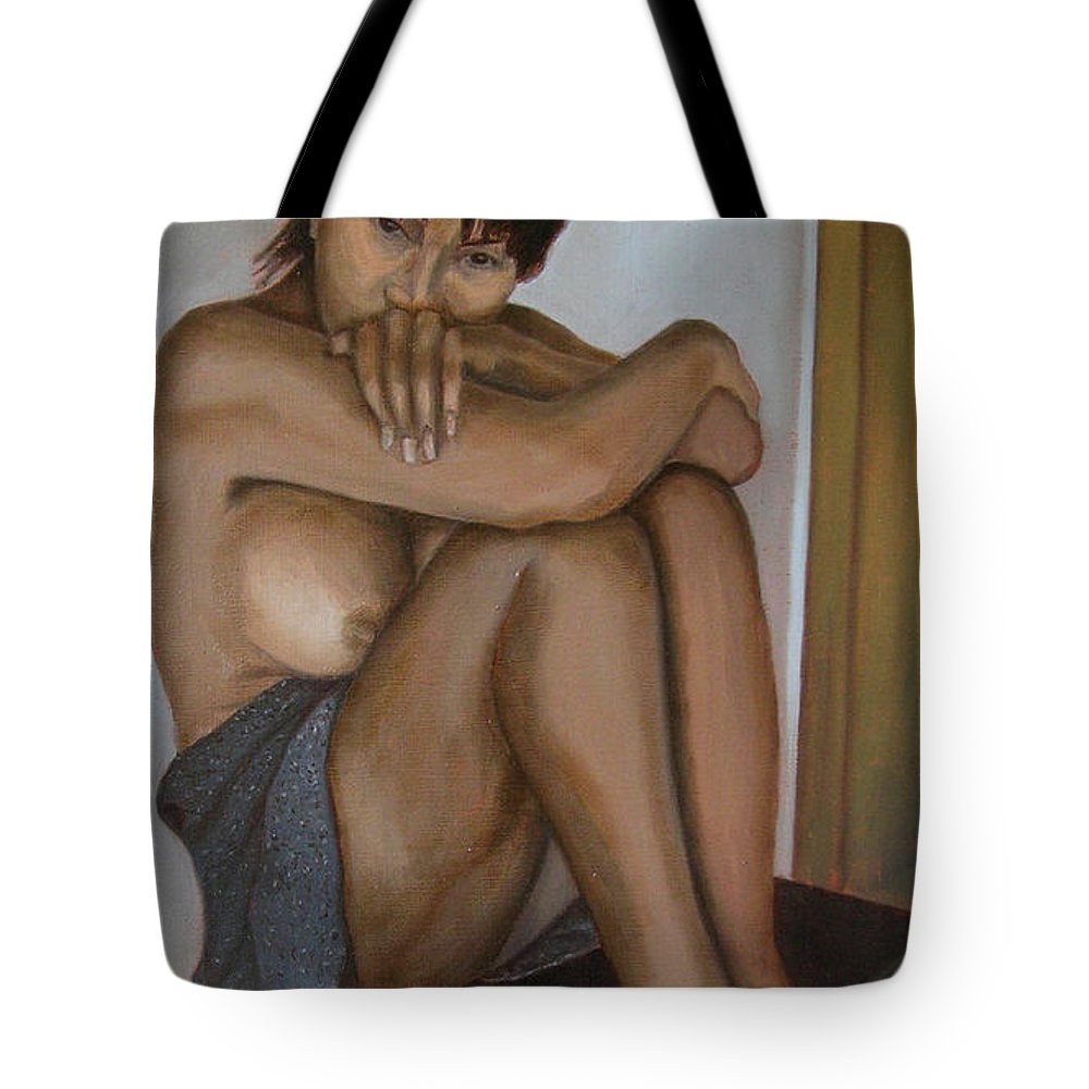 Figure Tote Bag featuring the painting Deep In Thought by Thu Nguyen