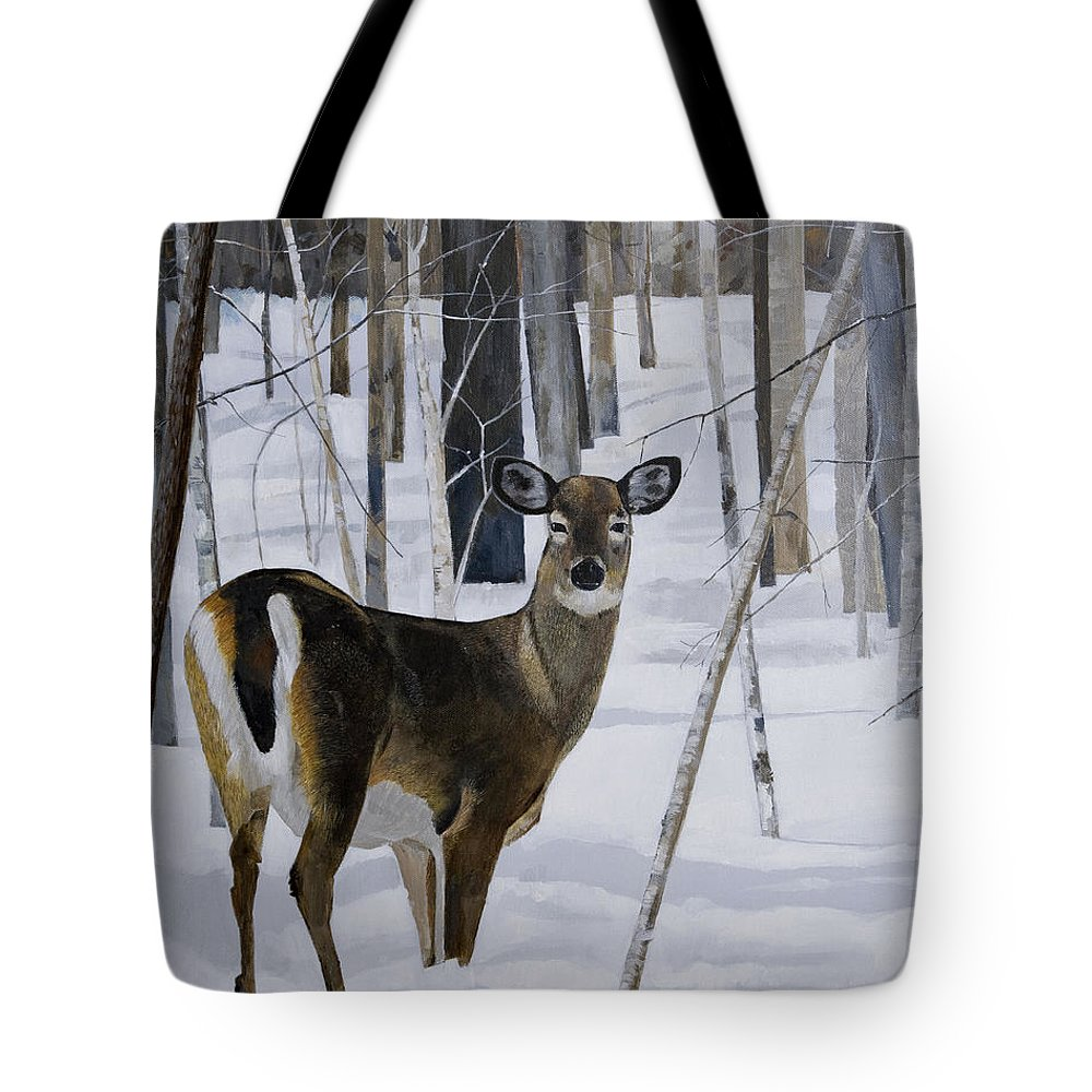 Deer Tote Bag featuring the painting Deer In The Snow by Bill Dunkley
