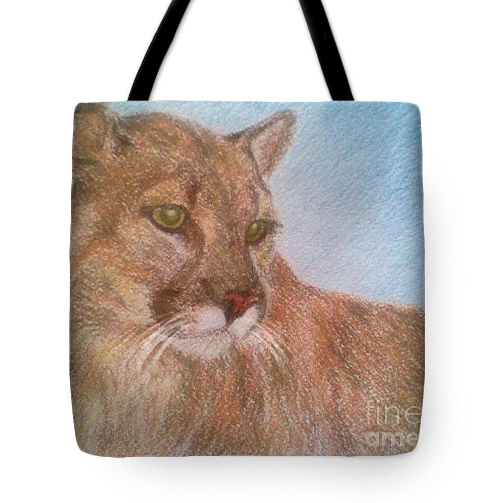 Deer Tiger Soft Pastel Drawing Paper Wild Cat Tote Bag featuring the drawing Deer Tiger by Nadi Sabirova