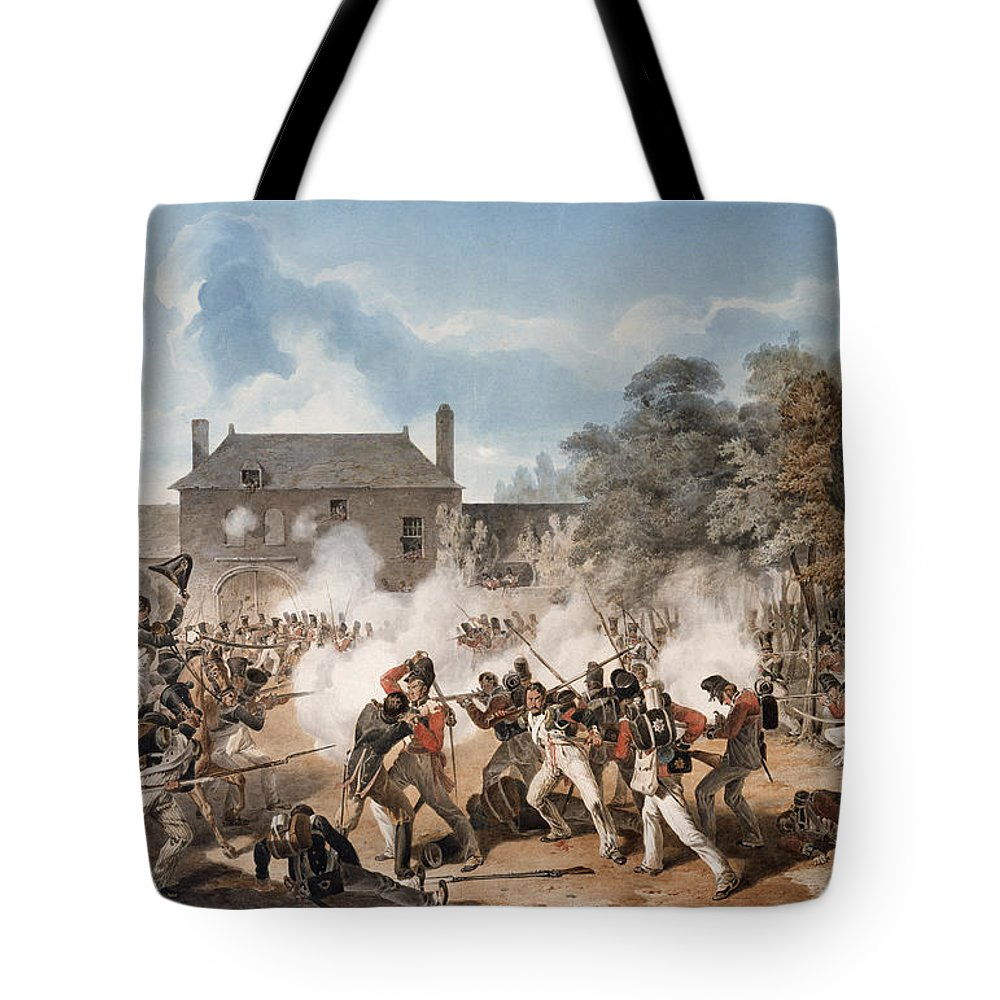 Battle Of Waterloo Tote Bag featuring the drawing Defence Of The Chateau De Hougoumont by Denis Dighton