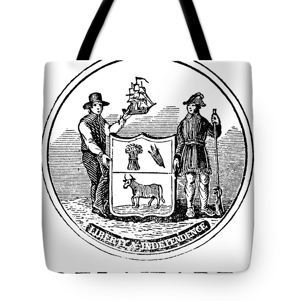 18th Century Tote Bag featuring the photograph Delaware State Seal by Granger