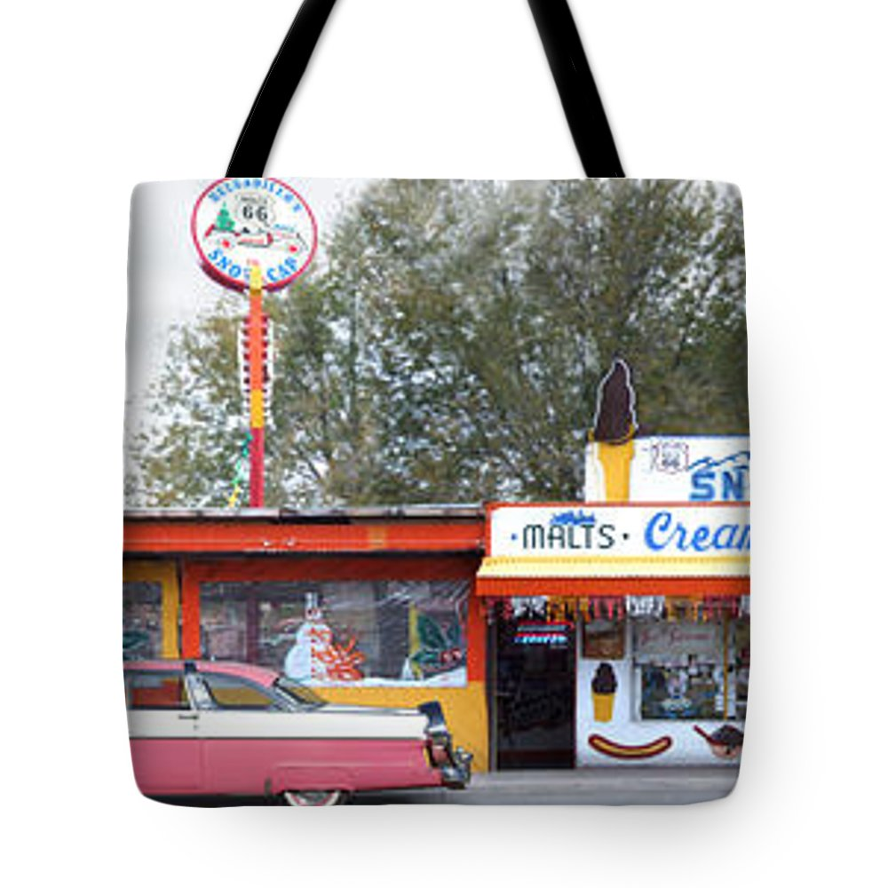 Drive In Tote Bag featuring the photograph Delgadillo's Snow Cap Drive-in On Route 66 Panoramic by Mike McGlothlen