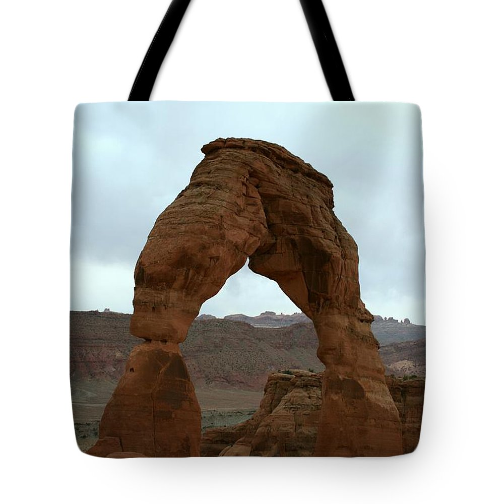 Arch Tote Bag featuring the photograph Delicate Arch View by Christiane Schulze Art And Photography